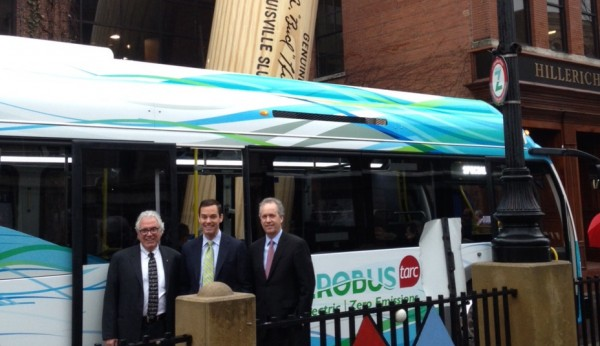 Barry Barker, TARC, Ryan Popple, Proterra, and Louisville Mayor Greg Fischer, join TARC for their All-Electric ZeroBus fleet launch at the Slugger Museum in downtown Louisville.